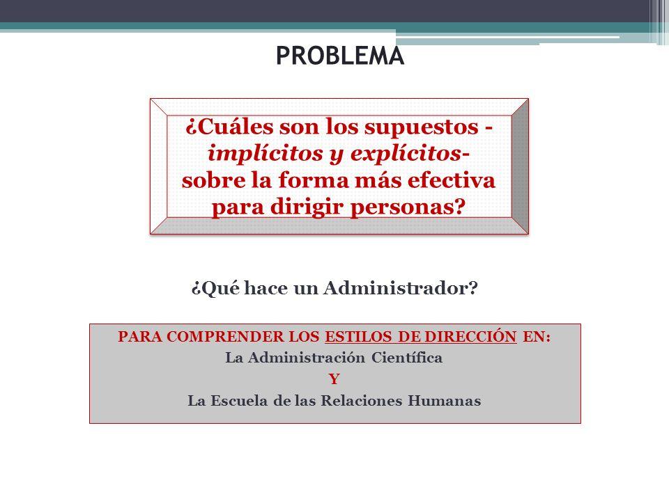 PROBLEMA ¿Cuáles son los supuestos -implícitos y explícitos- sobre la forma más efectiva para dirigir personas