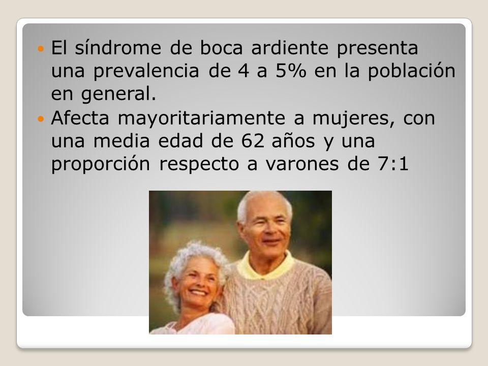 El síndrome de boca ardiente presenta una prevalencia de 4 a 5% en la población en general.