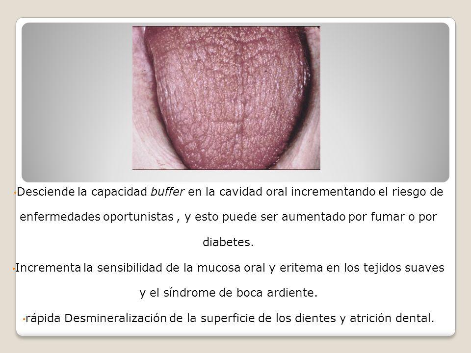 Desciende la capacidad buffer en la cavidad oral incrementando el riesgo de enfermedades oportunistas , y esto puede ser aumentado por fumar o por diabetes.