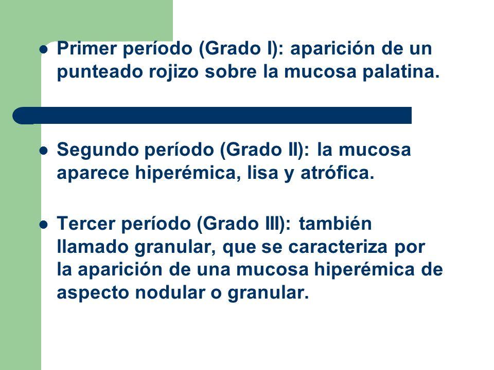 Primer período (Grado I): aparición de un punteado rojizo sobre la mucosa palatina.