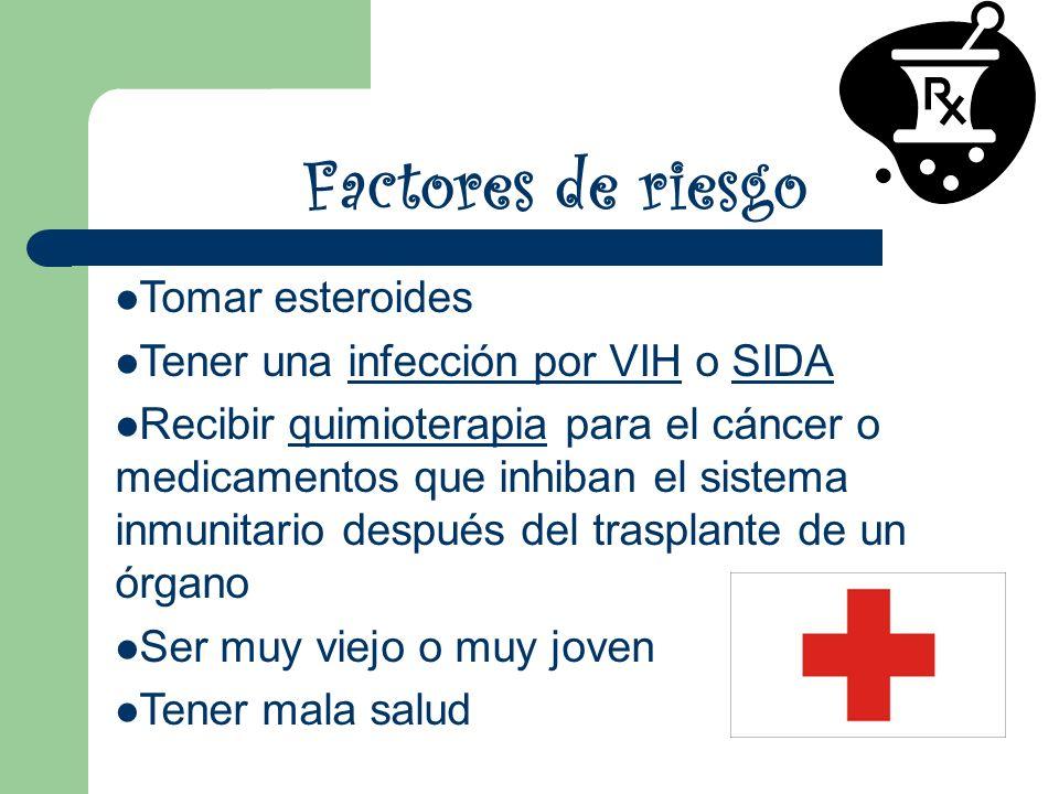 Factores de riesgo Tomar esteroides Tener una infección por VIH o SIDA