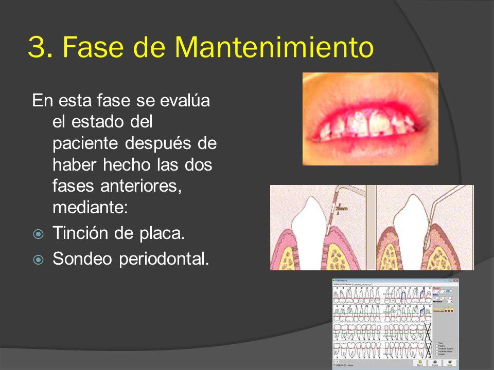 3. Fase de Mantenimiento En esta fase se evalúa el estado del paciente después de haber hecho las dos fases anteriores, mediante: