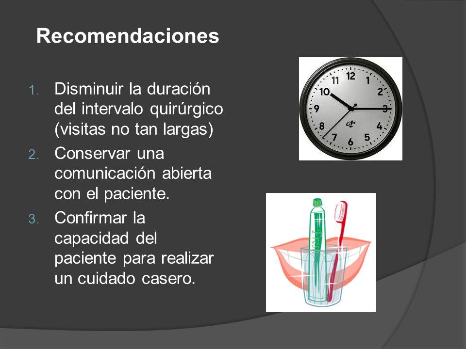 Recomendaciones Disminuir la duración del intervalo quirúrgico (visitas no tan largas) Conservar una comunicación abierta con el paciente.