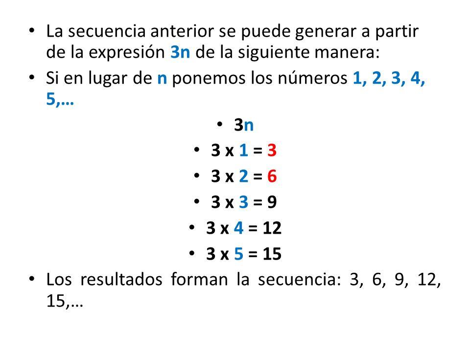 La secuencia anterior se puede generar a partir de la expresión 3n de la siguiente manera: