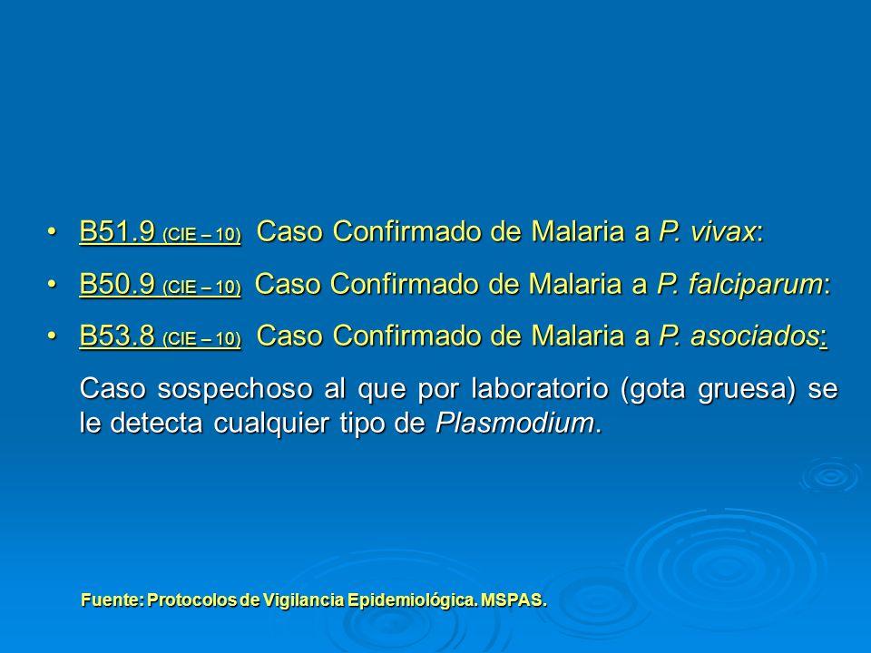 B51.9 (CIE – 10) Caso Confirmado de Malaria a P. vivax: