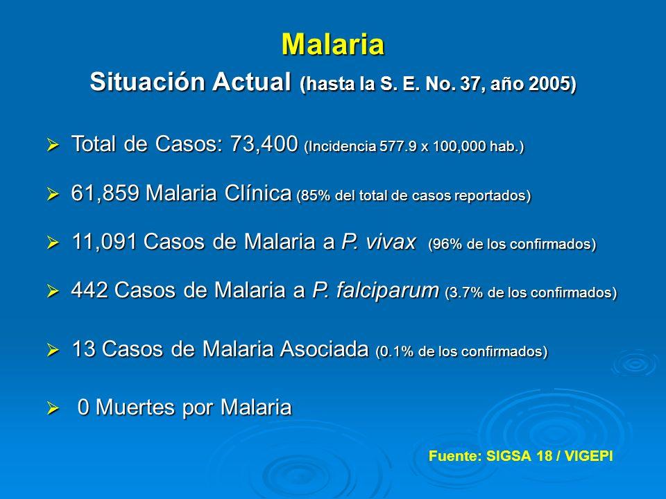 Malaria Situación Actual (hasta la S. E. No. 37, año 2005)