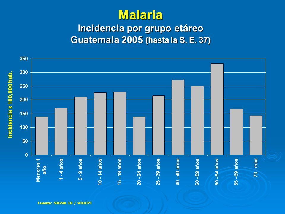Malaria Incidencia por grupo etáreo Guatemala 2005 (hasta la S. E. 37)