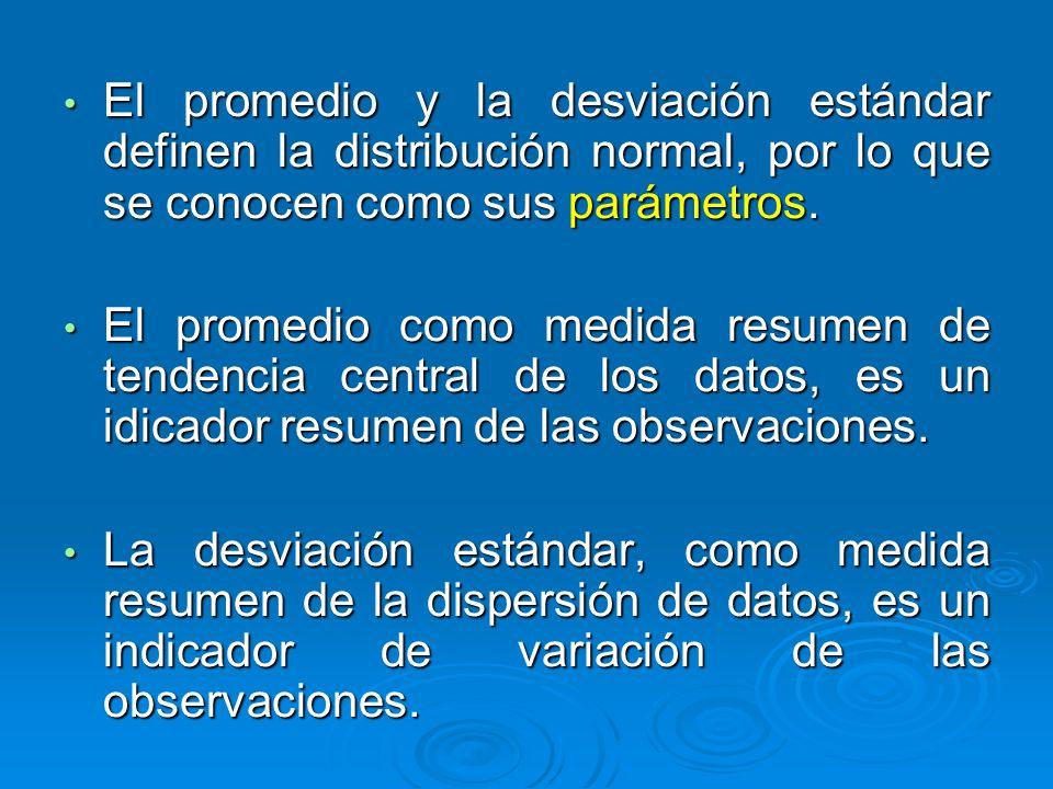 El promedio y la desviación estándar definen la distribución normal, por lo que se conocen como sus parámetros.