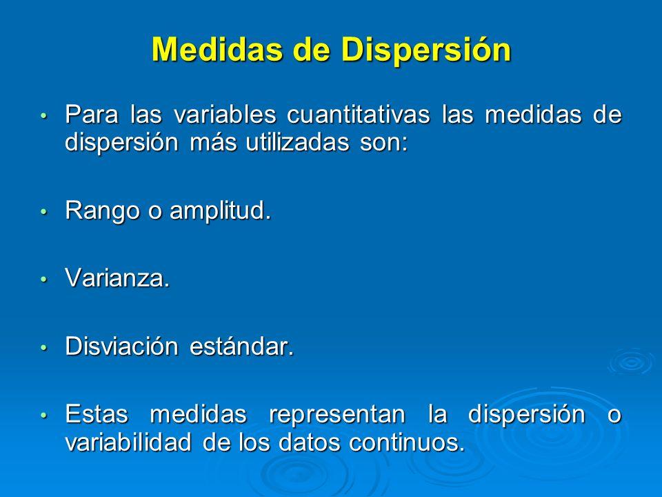 Medidas de DispersiónPara las variables cuantitativas las medidas de dispersión más utilizadas son: