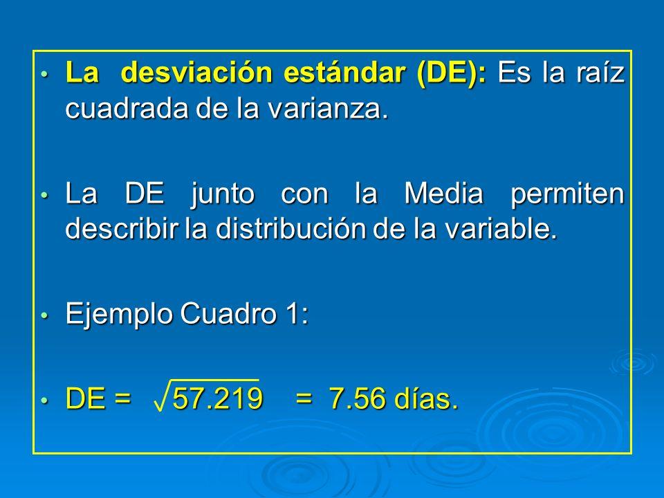 La desviación estándar (DE): Es la raíz cuadrada de la varianza.