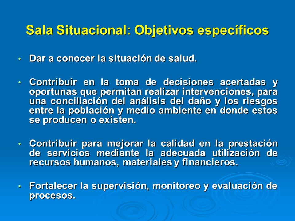 Sala Situacional: Objetivos específicos