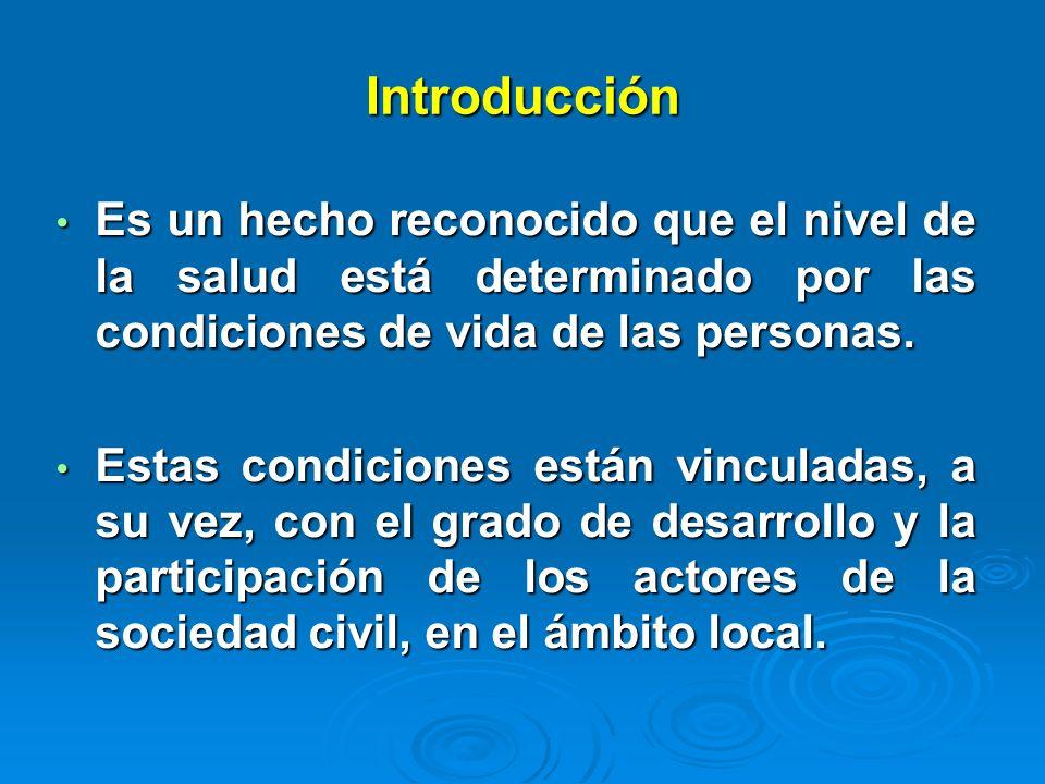 Introducción Es un hecho reconocido que el nivel de la salud está determinado por las condiciones de vida de las personas.