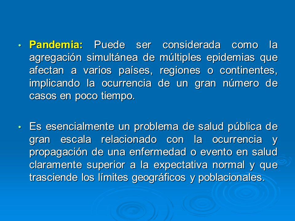 Pandemia: Puede ser considerada como la agregación simultánea de múltiples epidemias que afectan a varios países, regiones o continentes, implicando la ocurrencia de un gran número de casos en poco tiempo.
