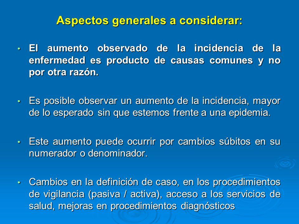 Aspectos generales a considerar: