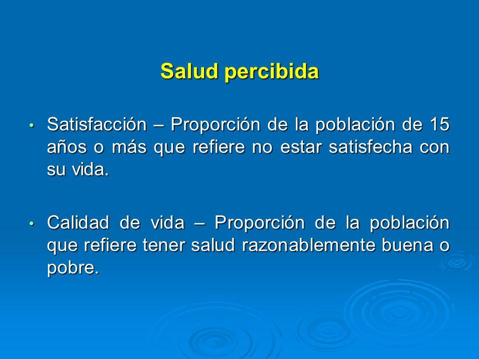 Salud percibidaSatisfacción – Proporción de la población de 15 años o más que refiere no estar satisfecha con su vida.
