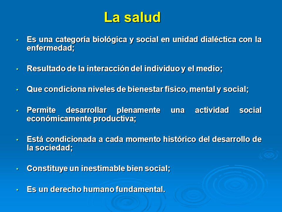 La saludEs una categoría biológica y social en unidad dialéctica con la enfermedad; Resultado de la interacción del individuo y el medio;