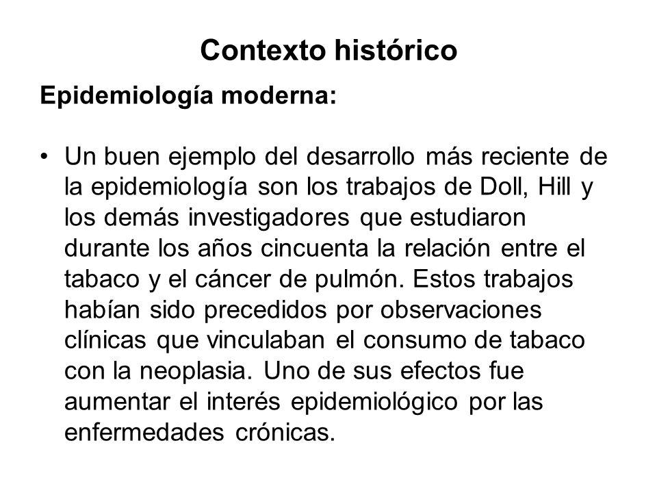 Contexto histórico Epidemiología moderna: