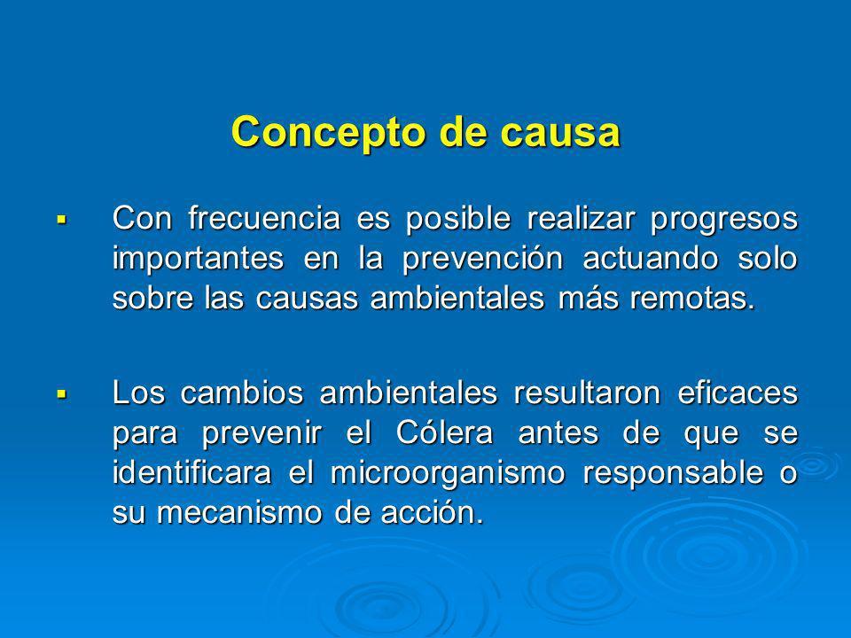 Concepto de causa Con frecuencia es posible realizar progresos importantes en la prevención actuando solo sobre las causas ambientales más remotas.