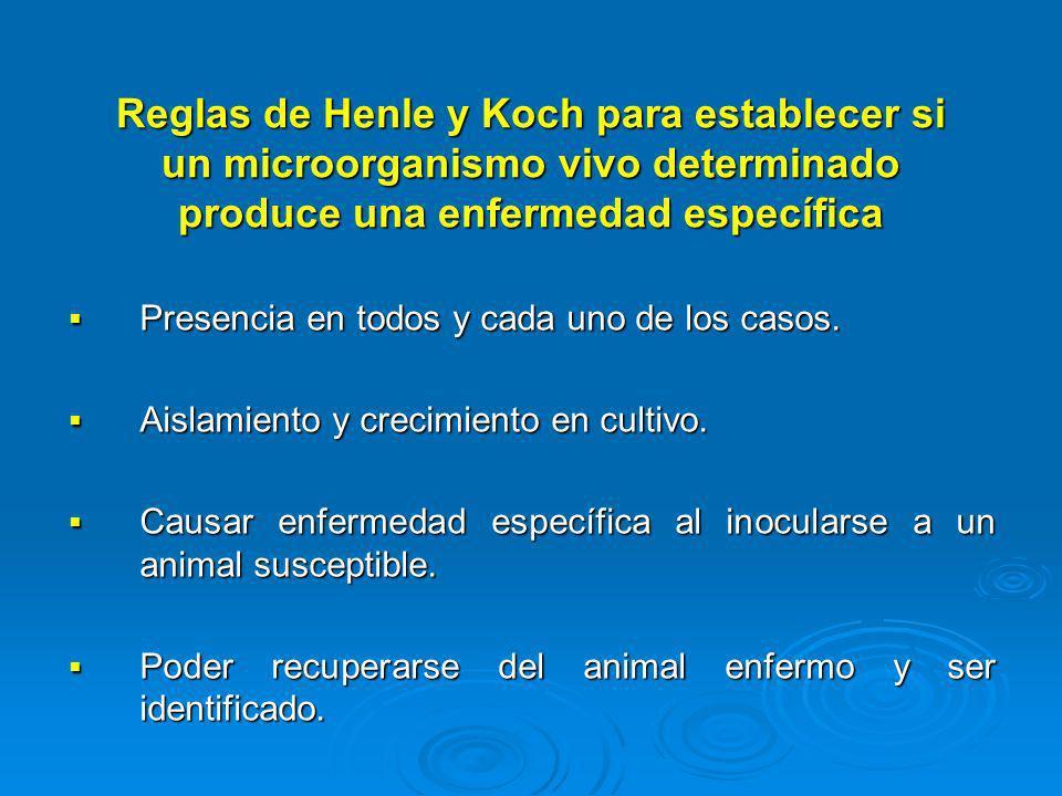 Reglas de Henle y Koch para establecer si un microorganismo vivo determinado produce una enfermedad específica