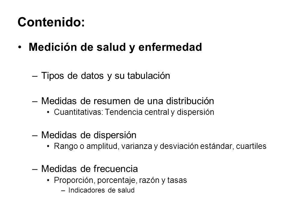 Contenido: Medición de salud y enfermedad