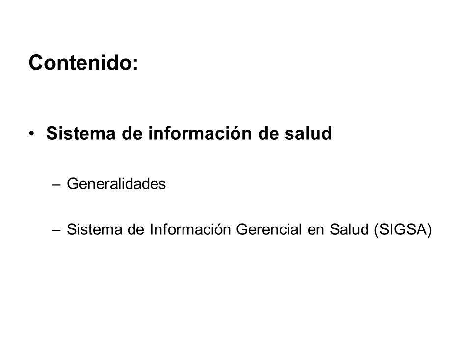 Contenido: Sistema de información de salud Generalidades