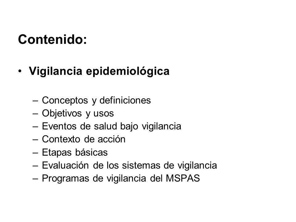 Contenido: Vigilancia epidemiológica Conceptos y definiciones
