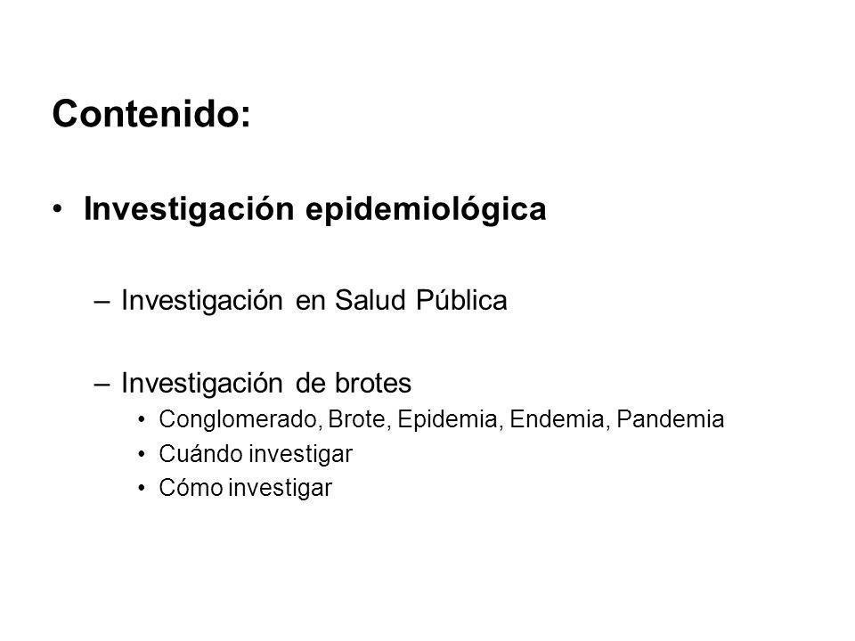 Contenido: Investigación epidemiológica Investigación en Salud Pública