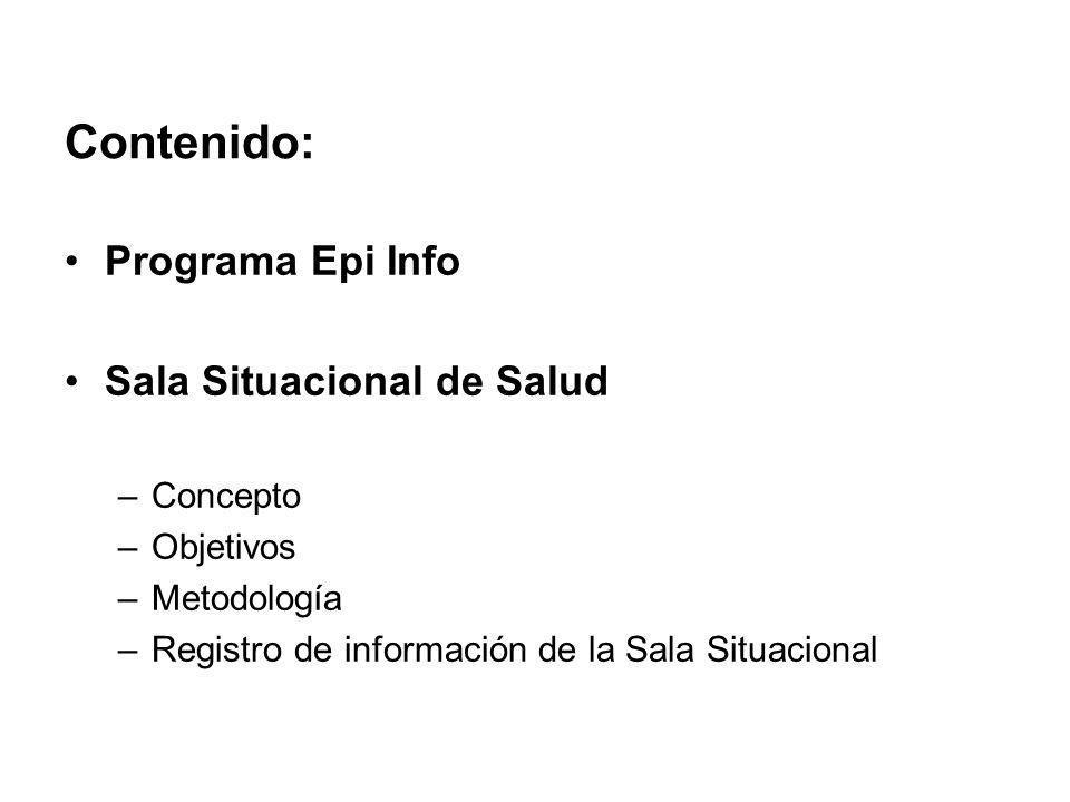Contenido: Programa Epi Info Sala Situacional de Salud Concepto