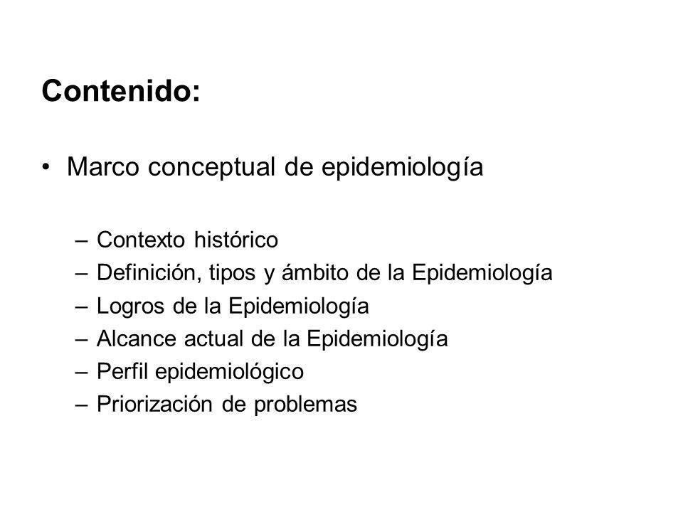 Contenido: Marco conceptual de epidemiología Contexto histórico