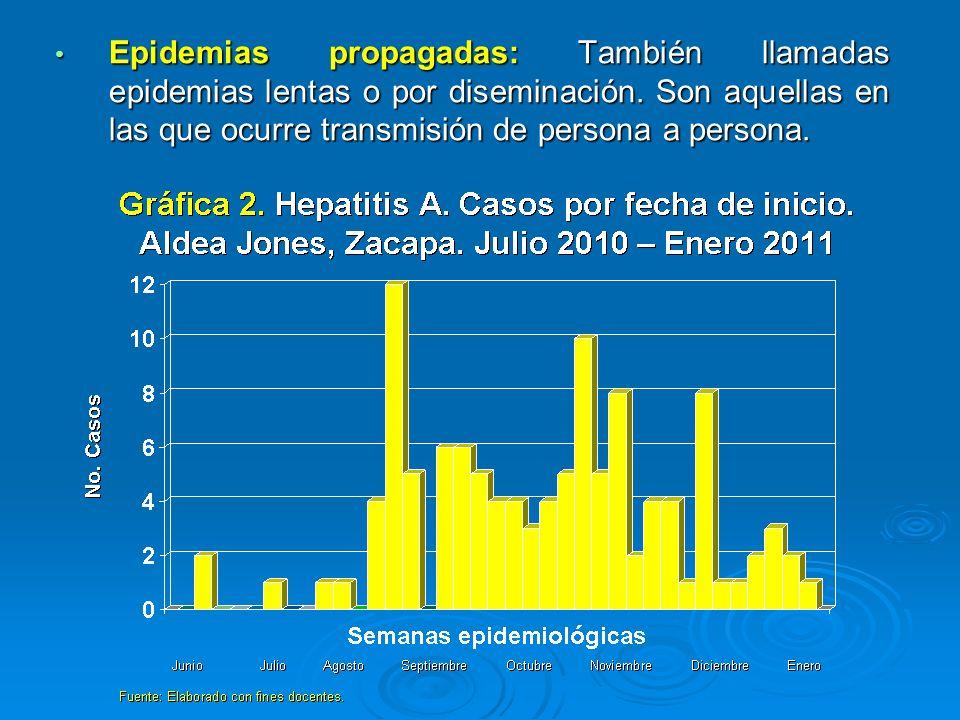 Epidemias propagadas: También llamadas epidemias lentas o por diseminación.