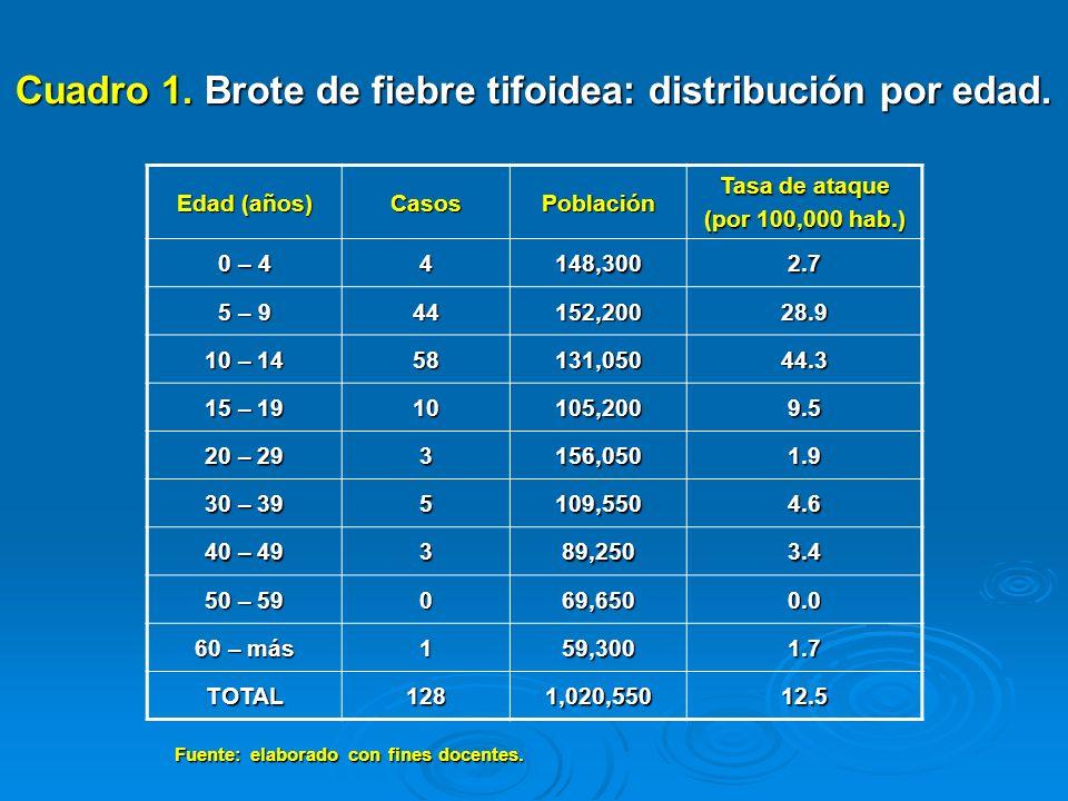 Cuadro 1. Brote de fiebre tifoidea: distribución por edad.