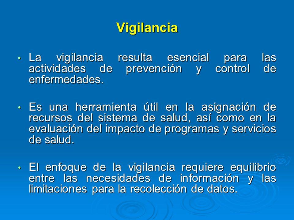 Vigilancia La vigilancia resulta esencial para las actividades de prevención y control de enfermedades.