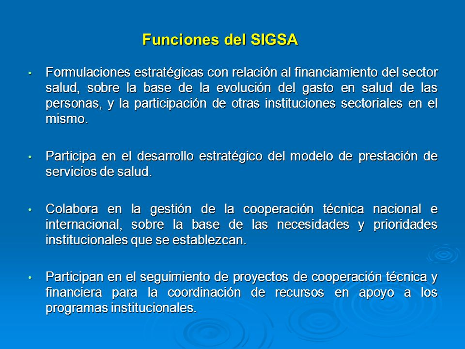 Funciones del SIGSA