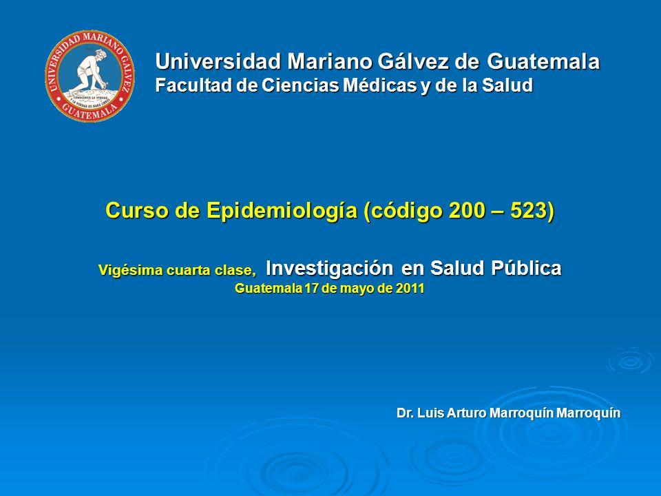 Vigésima cuarta clase, Investigación en Salud Pública