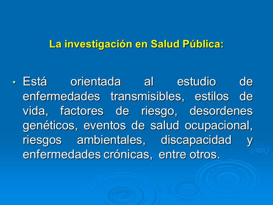 La investigación en Salud Pública: