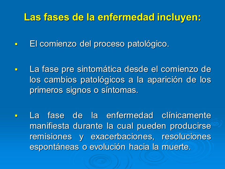 Las fases de la enfermedad incluyen: