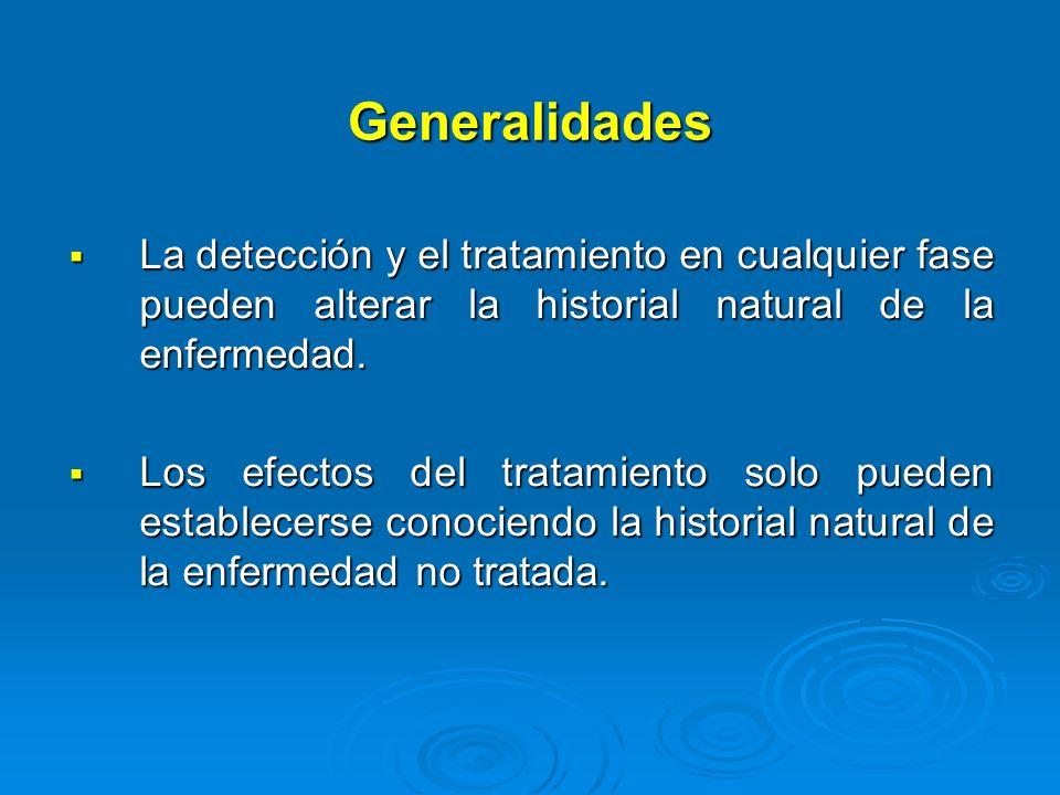 Generalidades La detección y el tratamiento en cualquier fase pueden alterar la historial natural de la enfermedad.