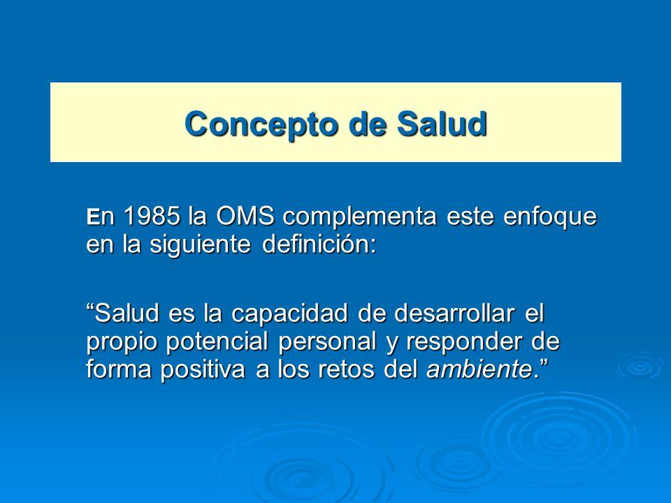 Concepto de Salud En 1985 la OMS complementa este enfoque en la siguiente definición: