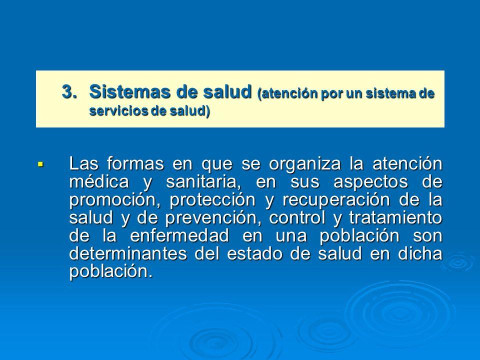3. Sistemas de salud (atención por un sistema de servicios de salud)
