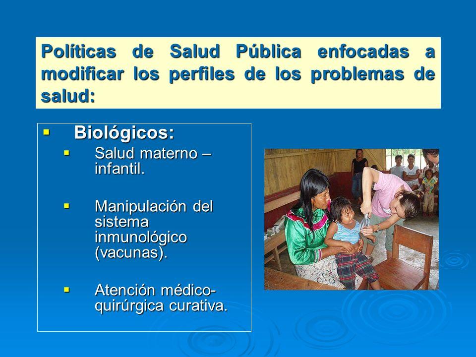 Políticas de Salud Pública enfocadas a modificar los perfiles de los problemas de salud: