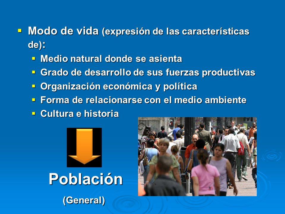 Población Modo de vida (expresión de las características de):