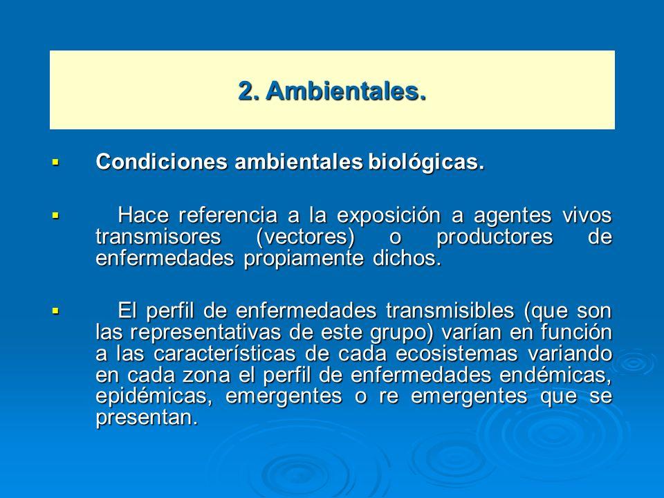 2. Ambientales. Condiciones ambientales biológicas.