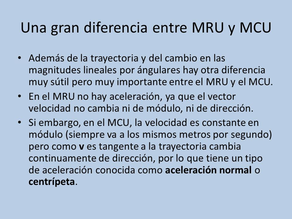 Una gran diferencia entre MRU y MCU