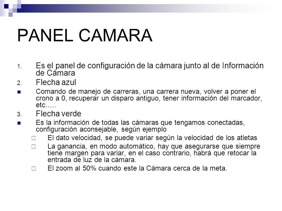 PANEL CAMARA Es el panel de configuración de la cámara junto al de Información de Cámara. Flecha azul.