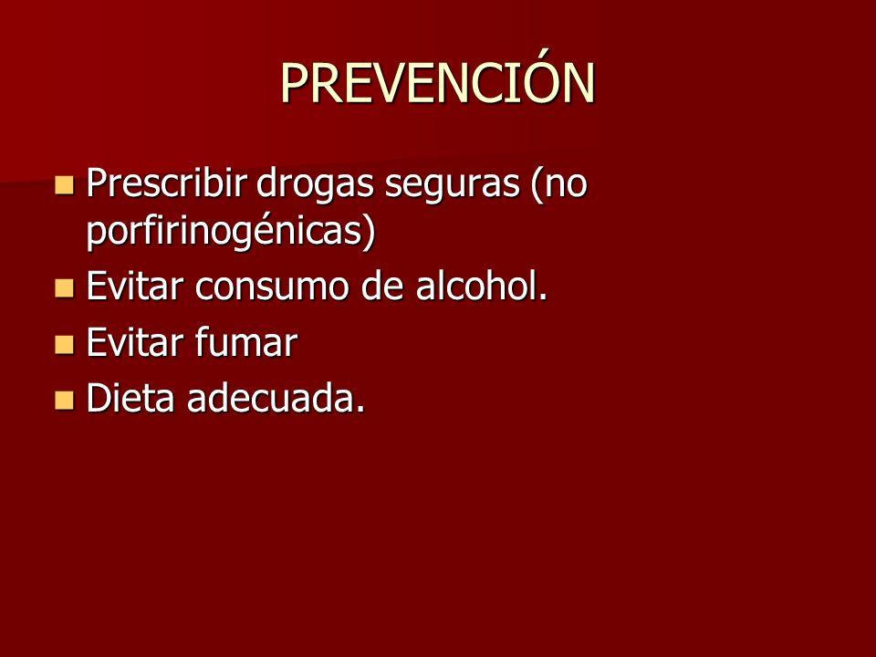 PREVENCIÓN Prescribir drogas seguras (no porfirinogénicas)