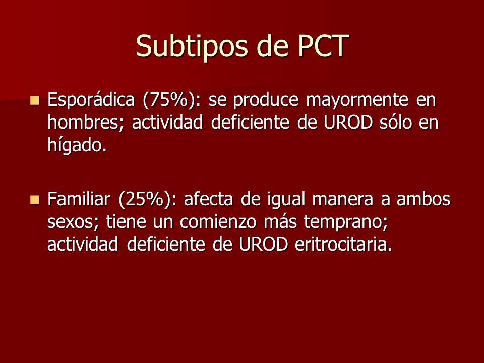 Subtipos de PCT Esporádica (75%): se produce mayormente en hombres; actividad deficiente de UROD sólo en hígado.