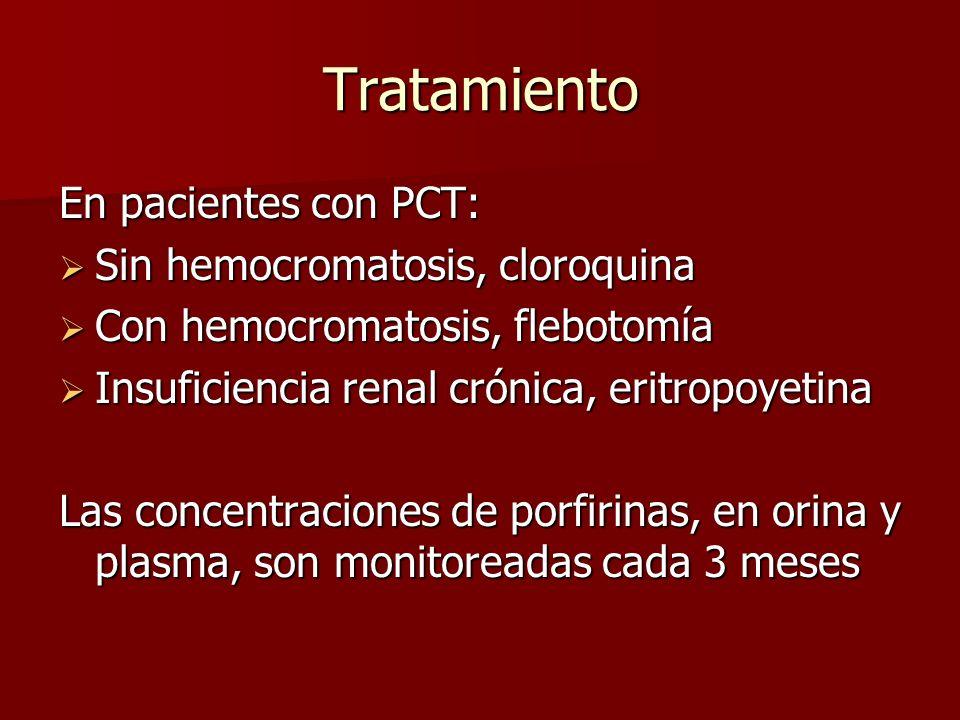 Tratamiento En pacientes con PCT: Sin hemocromatosis, cloroquina