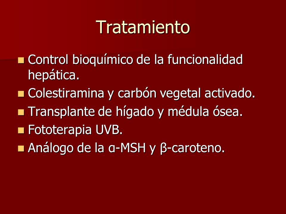 Tratamiento Control bioquímico de la funcionalidad hepática.