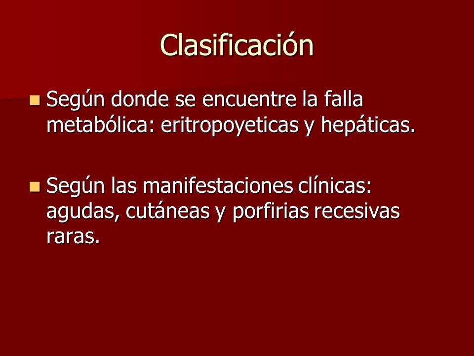 Clasificación Según donde se encuentre la falla metabólica: eritropoyeticas y hepáticas.