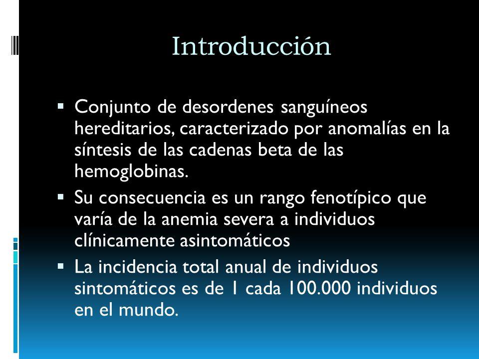 IntroducciónConjunto de desordenes sanguíneos hereditarios, caracterizado por anomalías en la síntesis de las cadenas beta de las hemoglobinas.